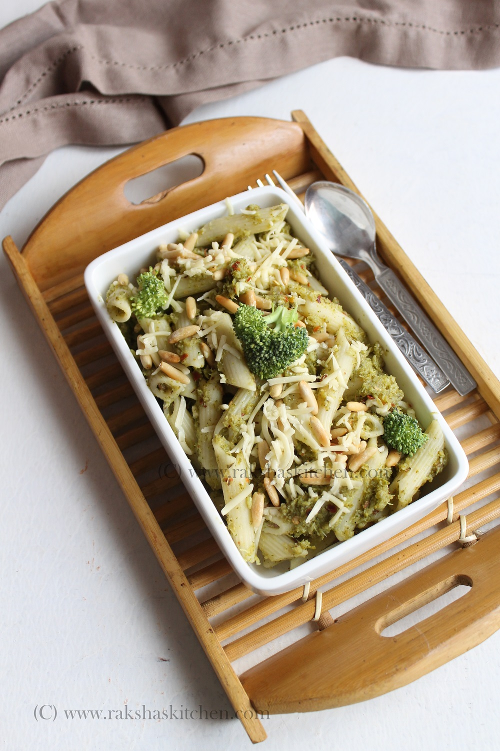 Broccoli Pesto Pasta With Pine Nuts - Raksha's Kitchen