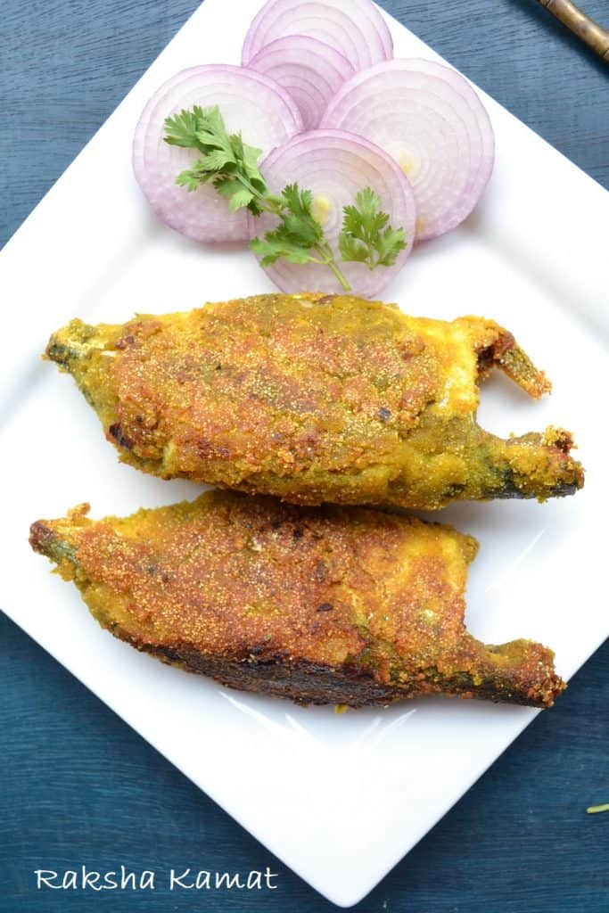 Stuffed mackerel with green masala