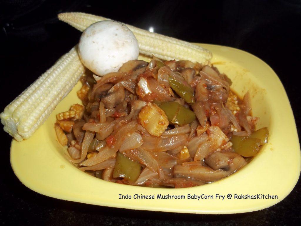 Indo Chinese Mushroom Babycorn Capsicum Fry