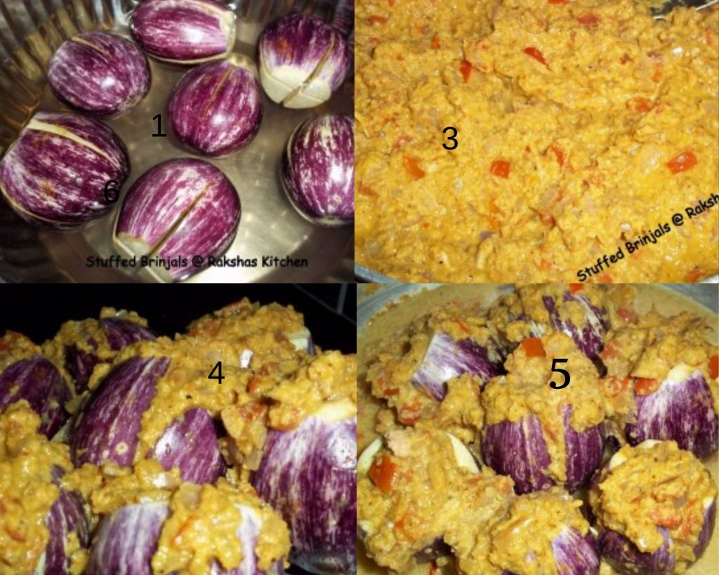 Step by step picture of stuffed brinjal