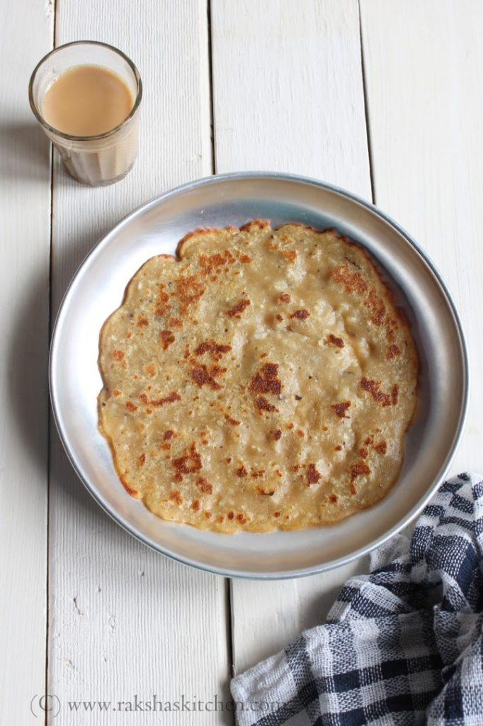 whole wheat pancake with jaggery Goan style