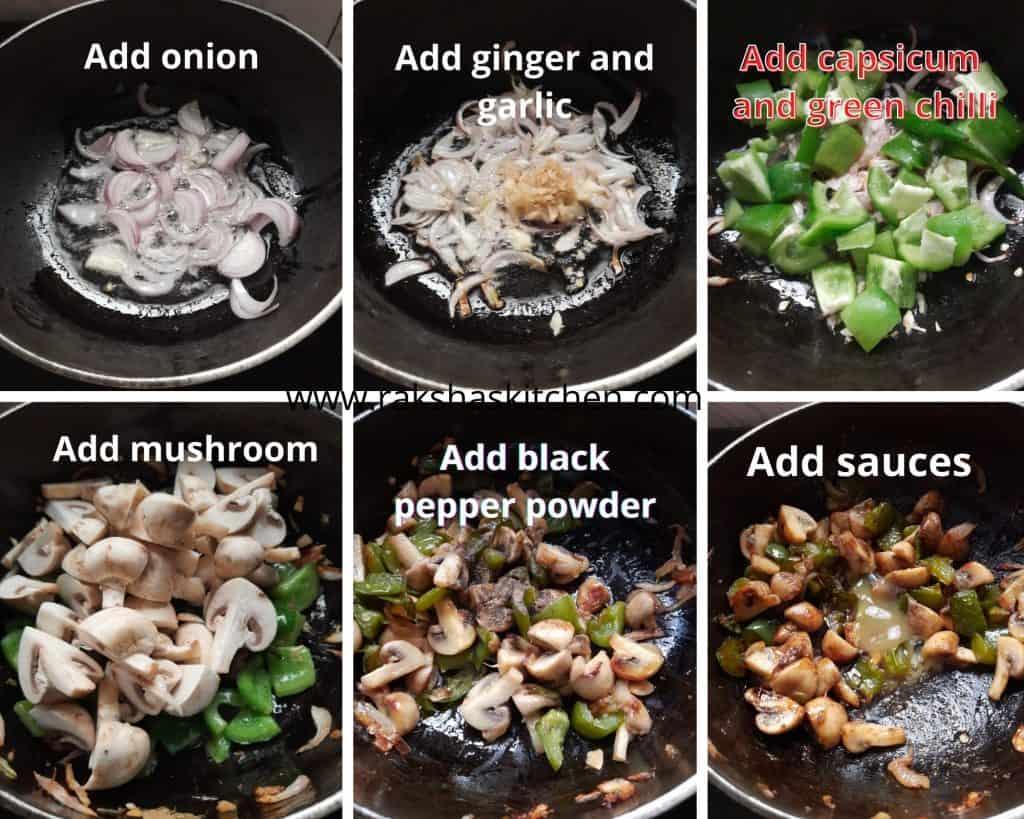 steps to make chilli spicy mushroom gravy
