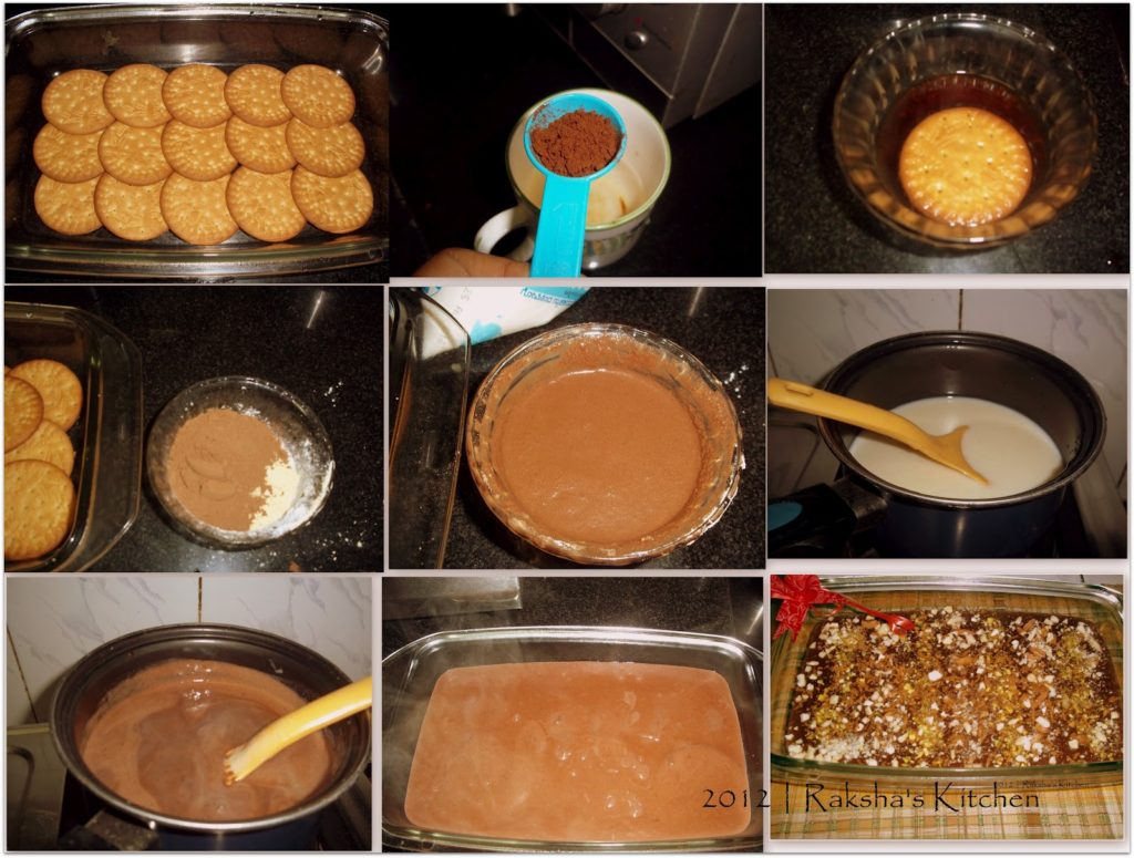 Steps to make eggless biscuit pudding