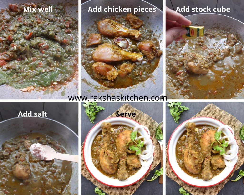 Steps to make coriander chicken curry