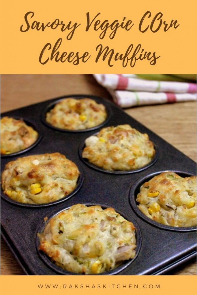Savory veggie corn cheese muffin recipe