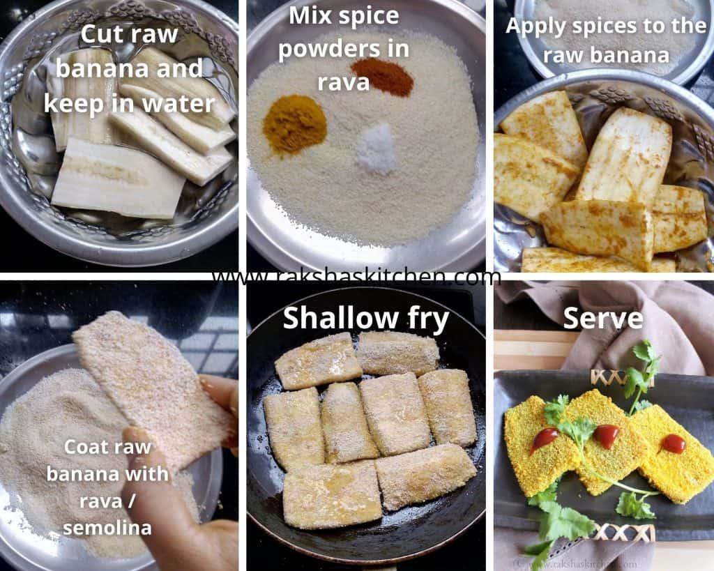Steps to make raw banana fry