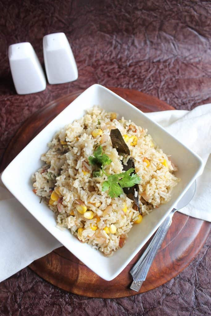 sweet corn and peas pulao