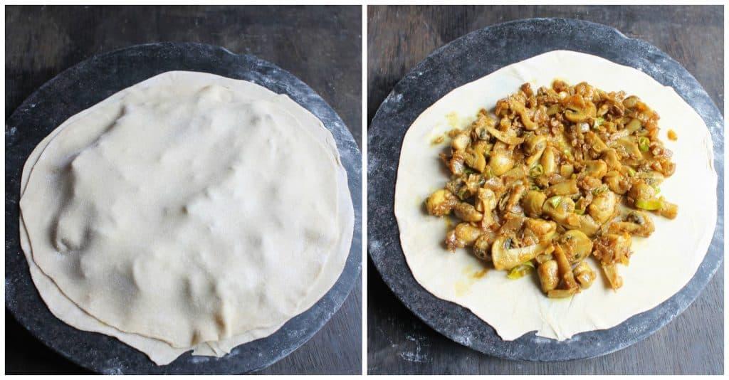 stuffed mushroom paratha step by step