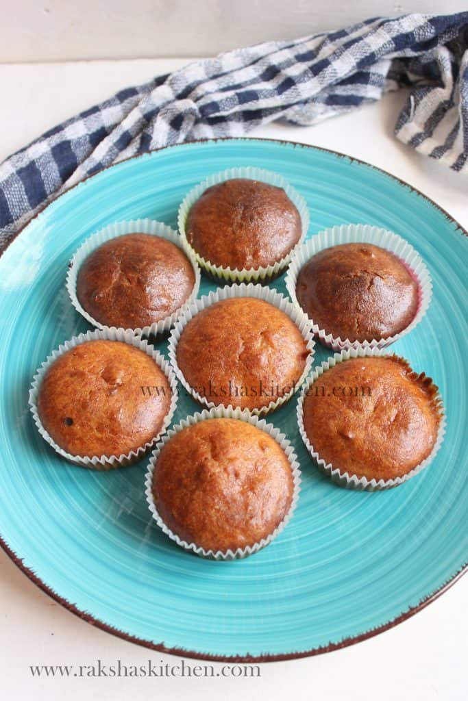 Eggless whole wheat banana muffins