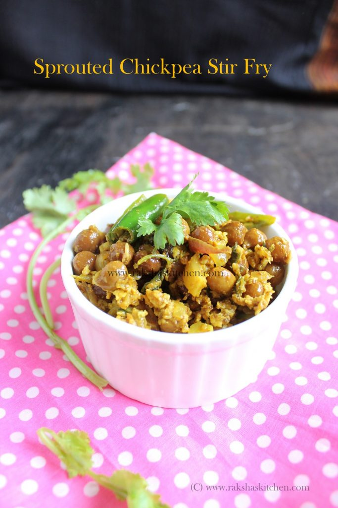 sprouted black chickpea stir fry