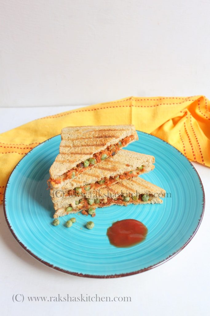 Carrot And Peas Sandwich