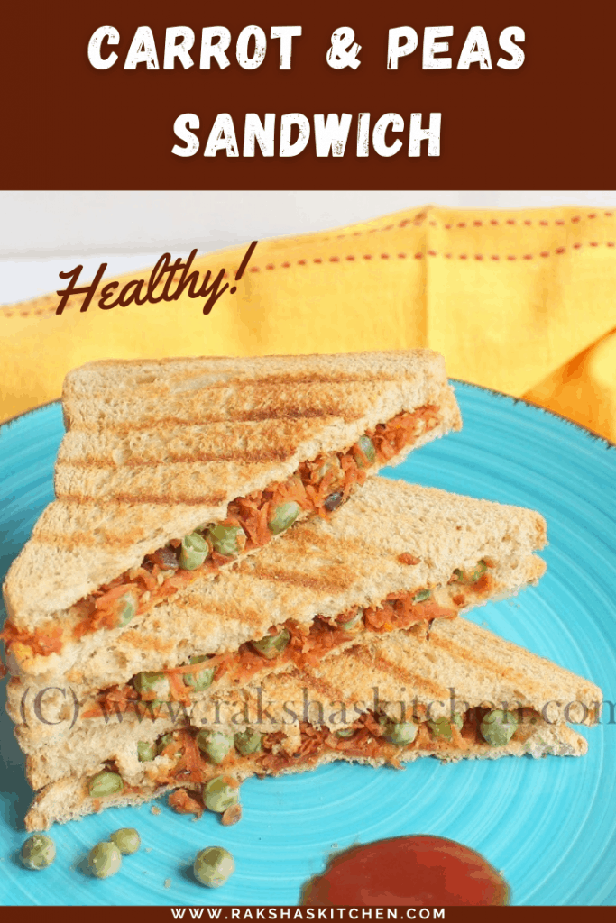 Healthy carrot peas sandwich