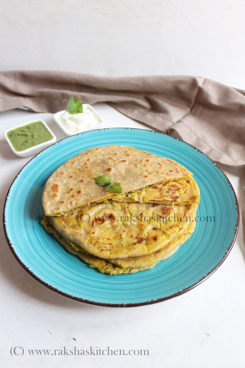 cabbage and dal stuffed paratha