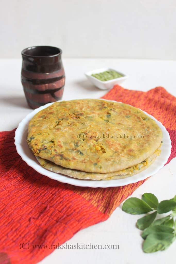 Cauliflower methi paratha