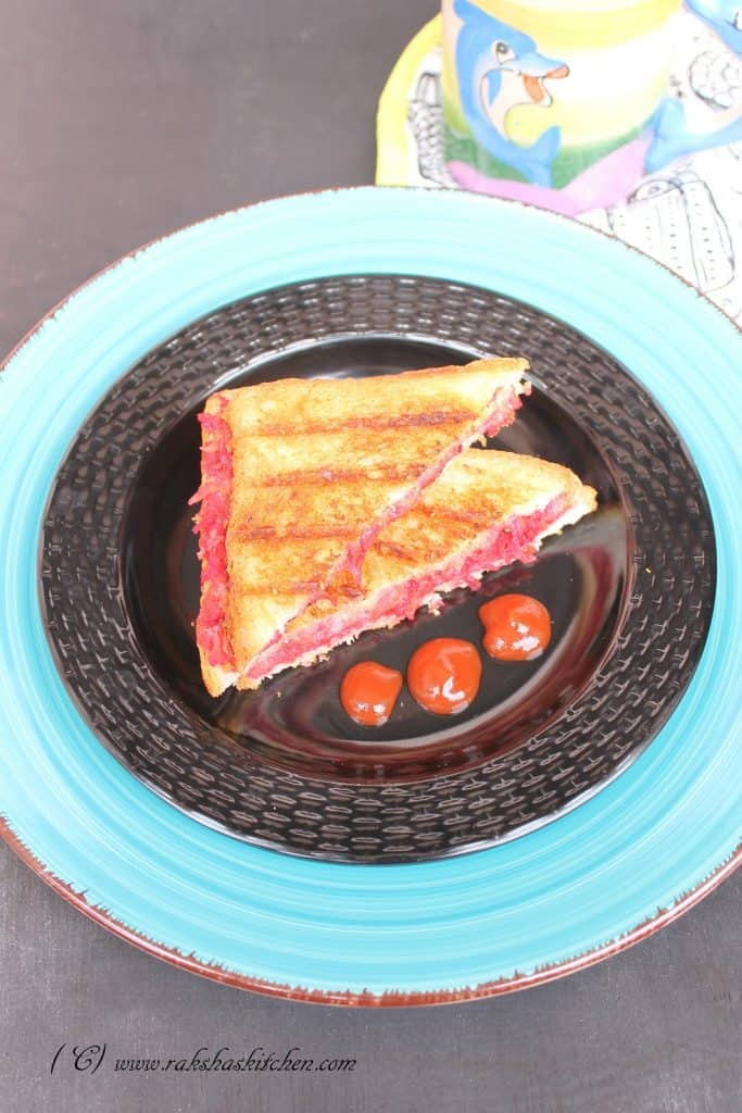 Carrot beetroot radish sandwich