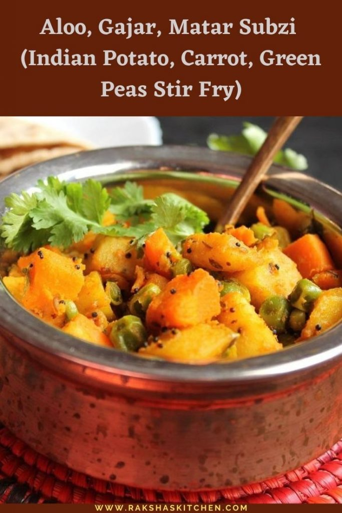 Indian Potato, carrot,green peas stir fry