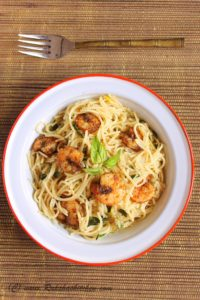 Lemon Pasta With Roasted Shrimps, lemon pasta, lemony pasta, shrimp pasta