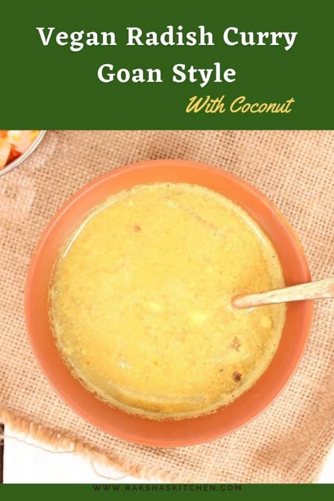 Goan style vegan radish curry