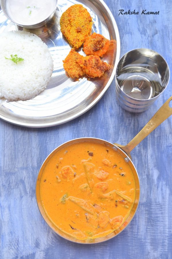 Goan Prawns Curry With Ladyfingers, Goan Prawns Curry, Prawns Curry, Goan Fish Curry