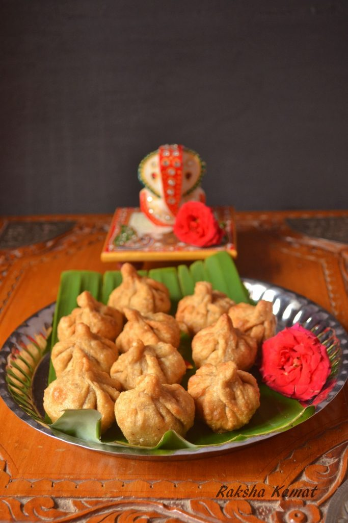 Deep Fried Modak (Indian Dumplings With Grated Coconut And Jaggery)
