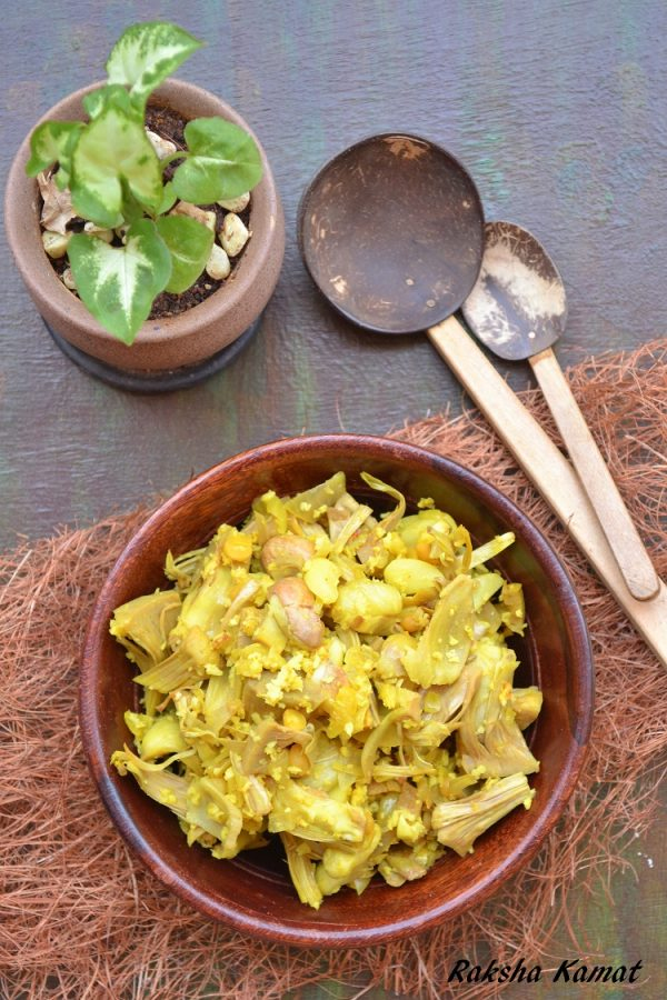 Raw jackfruit subzi, raw jackfruit sushel, raw jackfruit recipe, cooking raw jackfruit, sushel recipe