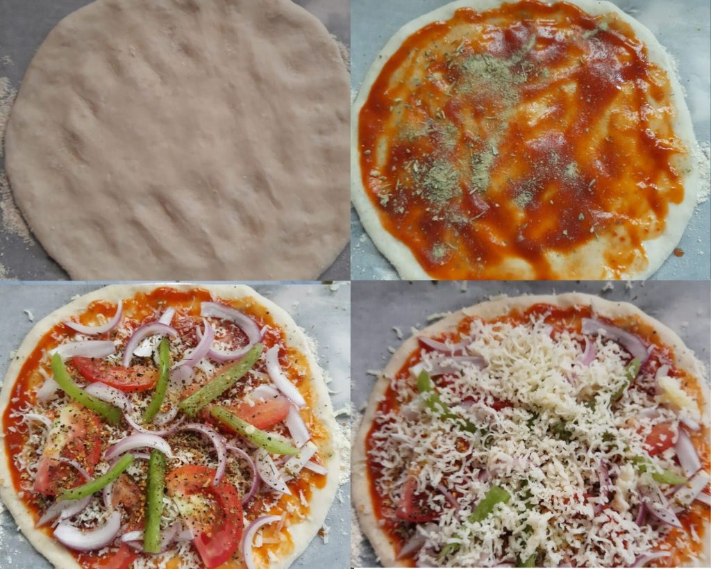 Steps to make homemade veg pizza from scratch