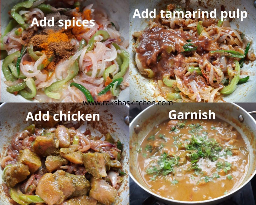 Steps to make chicken recipe Goan style - add chicken and spices
