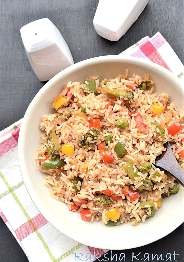 Mixed veg fried rice with broccoli and capsicum