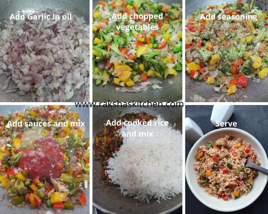 Steps to make rice with bell pepper and broccoli