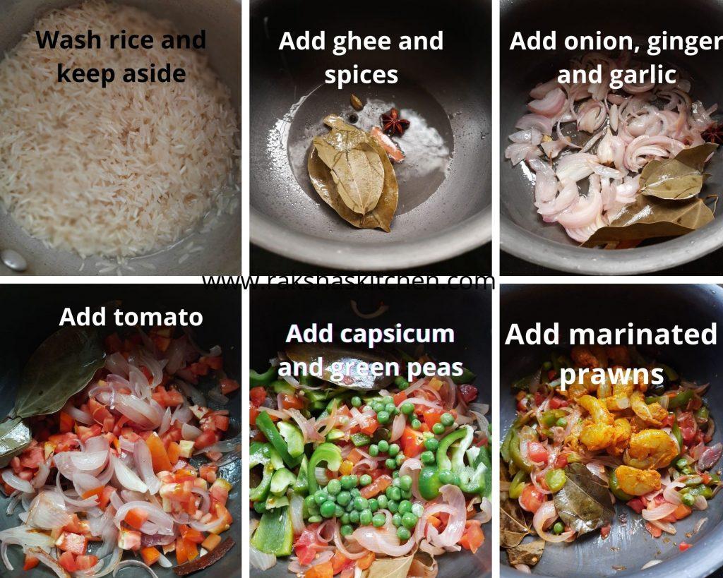 Steps to make prawn pulao Goan style