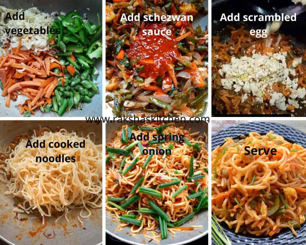 Steps to make schezwan noodles with egg