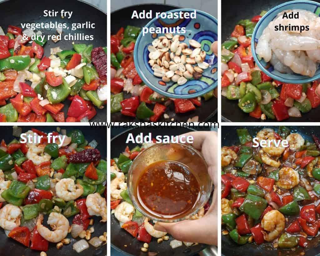 steps to make kung pao shrimp