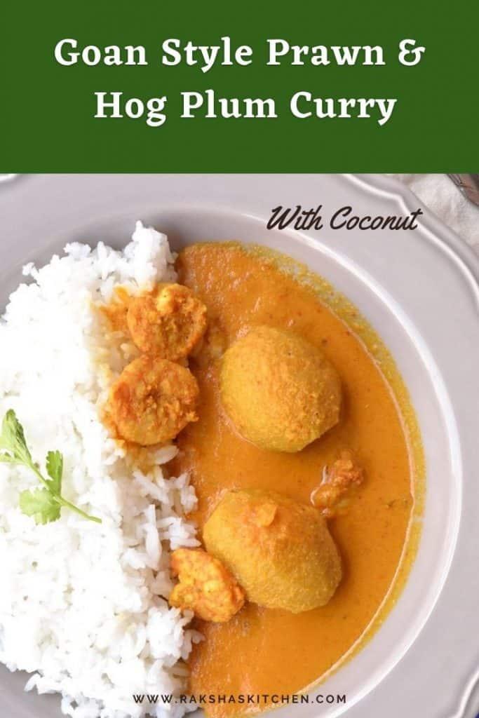Goan style prawn or shrimp curry with hog plum